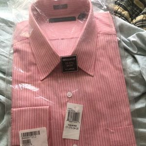 White stripped pink dress shirt